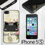 "iPhone 5/5s Case with Typewriter Image and ""Just Write"""